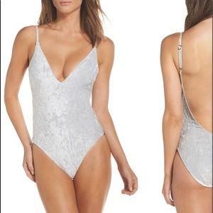Leith Crushed Velvet One-Piece Swimsuit Bodysuit